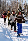 Sharon Anderson, Paule Gingras, Melissa Haberman & Sandra Beaty snowshoeing near Little Rock Pond.  Photo by Rolf Anderson.
